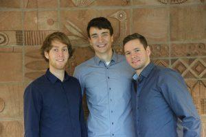 Das tripmind-Team an der Hochschule in Worms. Simon Thomas, Max Steffen und Stefan Vogler